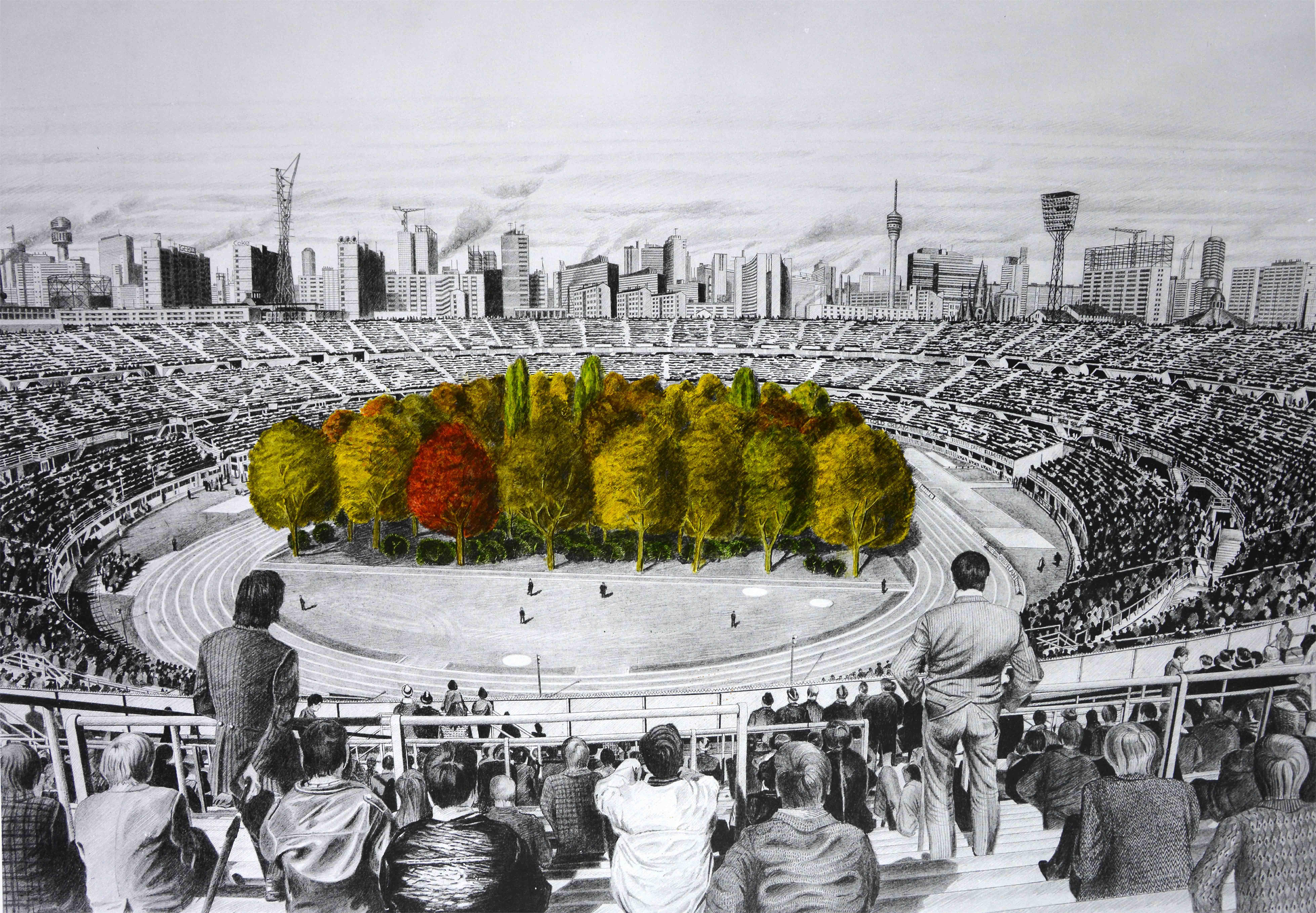 Egy svájci művész erdővé változtatja a klagenfurti stadiont