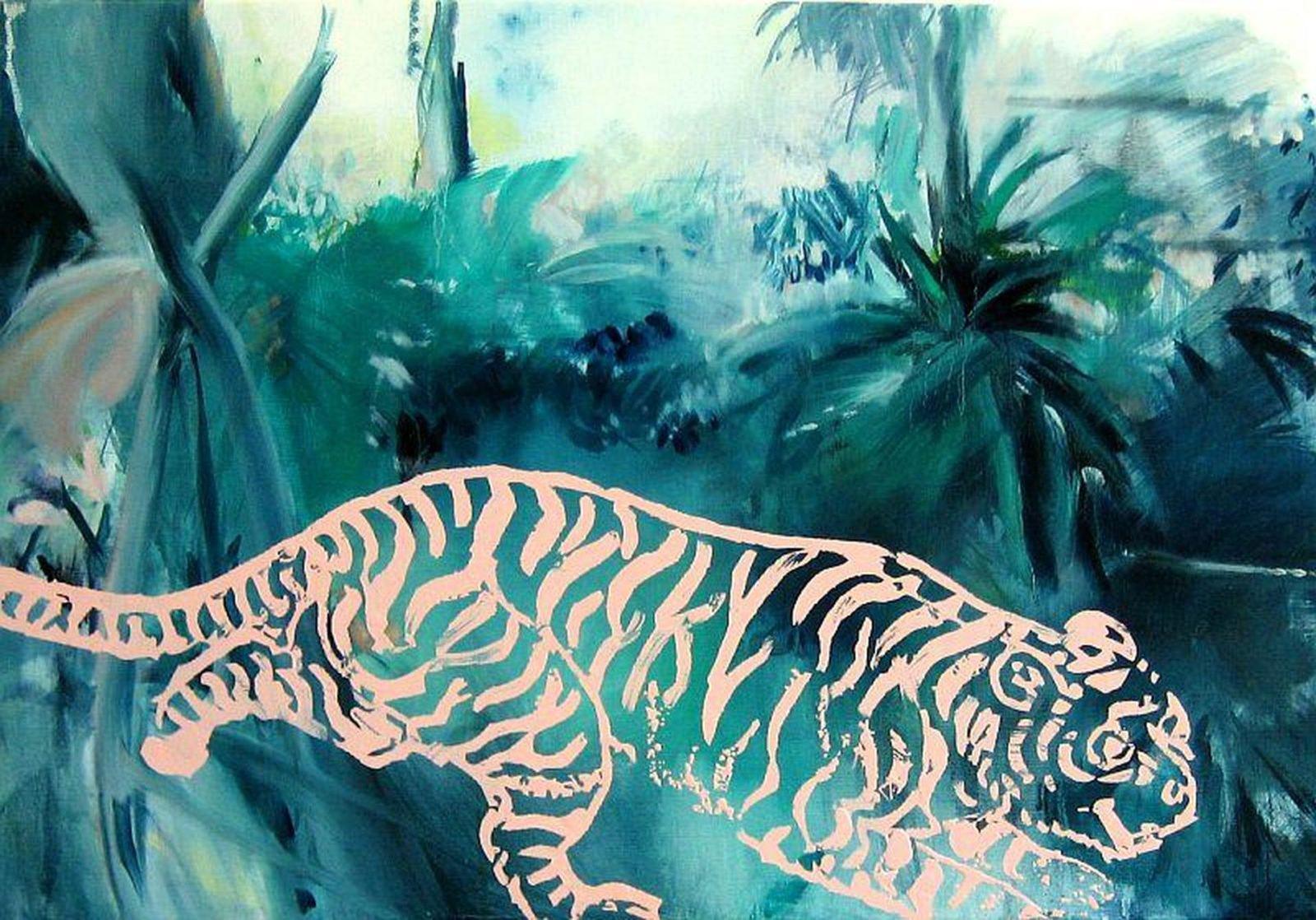 HATHÁZI László András: Dzsungel. 180x220 cm, olaj, vászon, zománc