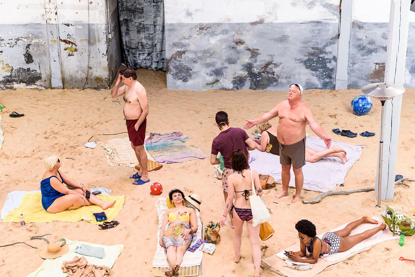 "Rugilė Barzdžiukaitė, Vaiva Grainytė and Lina Lapelytė, ""Sun & Sea (Marina)."" Exhibition view at Lithuania Pavilion, 58th Venice Biennale, 2019. Photography by Andrea Avezzù. Courtesy of the artists and Venice Biennale."